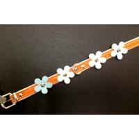 Ovratnica usnjena FLOWER oranžna 24-28cm
